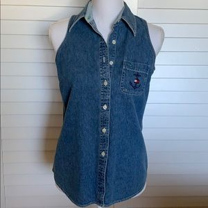 Tommy Hilfiger denim sleeveless buttondown shirt.